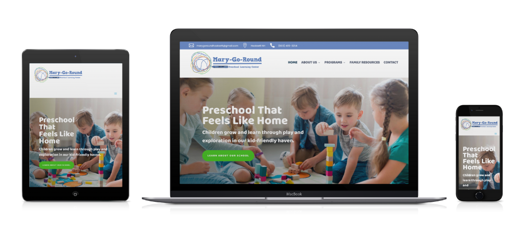 Mary-Go-Round Preschool Website built by Roots Digital