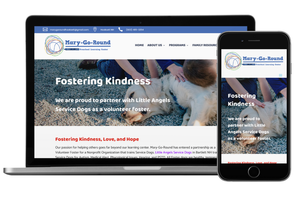 Mary-Go-Round Preschool Website Service Dogs Page